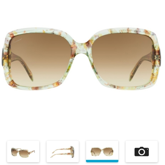 GUCCI SUNGLASSES  Green Flower / Brown Gradient